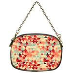 Modern Hipster Triangle Pattern Red Blue Beige Chain Purses (One Side)  Front