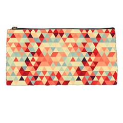 Modern Hipster Triangle Pattern Red Blue Beige Pencil Cases
