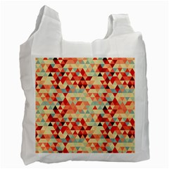 Modern Hipster Triangle Pattern Red Blue Beige Recycle Bag (two Side)