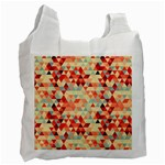 Modern Hipster Triangle Pattern Red Blue Beige Recycle Bag (Two Side)  Front