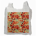 Modern Hipster Triangle Pattern Red Blue Beige Recycle Bag (Two Side)  Back