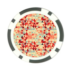 Modern Hipster Triangle Pattern Red Blue Beige Poker Chip Card Guards (10 Pack)