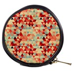 Modern Hipster Triangle Pattern Red Blue Beige Mini Makeup Bags