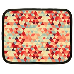Modern Hipster Triangle Pattern Red Blue Beige Netbook Case (xxl)