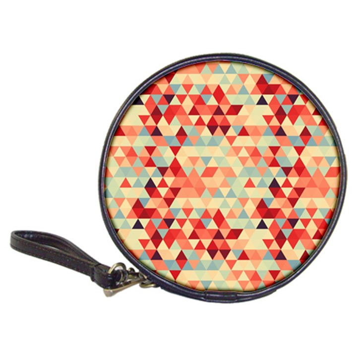 Modern Hipster Triangle Pattern Red Blue Beige Classic 20-CD Wallets