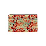 Modern Hipster Triangle Pattern Red Blue Beige Cosmetic Bag (Small)  Front
