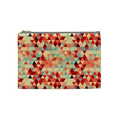 Modern Hipster Triangle Pattern Red Blue Beige Cosmetic Bag (medium)  by EDDArt