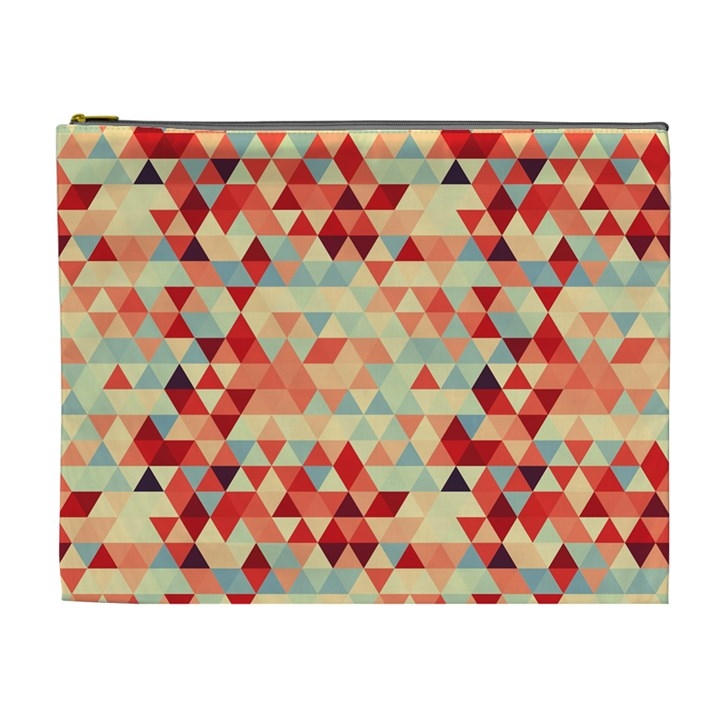 Modern Hipster Triangle Pattern Red Blue Beige Cosmetic Bag (XL)
