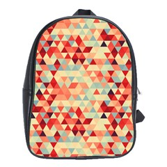 Modern Hipster Triangle Pattern Red Blue Beige School Bags(large)