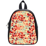 Modern Hipster Triangle Pattern Red Blue Beige School Bags (Small)  Front