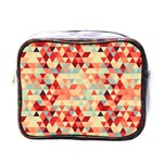 Modern Hipster Triangle Pattern Red Blue Beige Mini Toiletries Bags Front