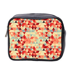Modern Hipster Triangle Pattern Red Blue Beige Mini Toiletries Bag 2 Side