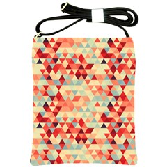 Modern Hipster Triangle Pattern Red Blue Beige Shoulder Sling Bags