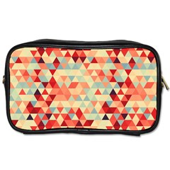 Modern Hipster Triangle Pattern Red Blue Beige Toiletries Bags by EDDArt