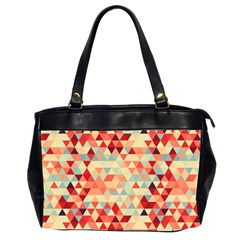 Modern Hipster Triangle Pattern Red Blue Beige Office Handbags (2 Sides)