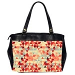 Modern Hipster Triangle Pattern Red Blue Beige Office Handbags (2 Sides)  Back