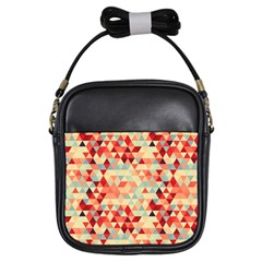 Modern Hipster Triangle Pattern Red Blue Beige Girls Sling Bags