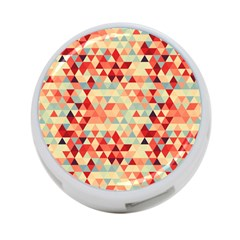 Modern Hipster Triangle Pattern Red Blue Beige 4 Port Usb Hub (one Side) by EDDArt