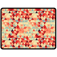 Modern Hipster Triangle Pattern Red Blue Beige Fleece Blanket (large)  by EDDArt
