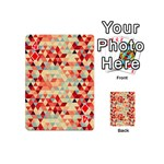 Modern Hipster Triangle Pattern Red Blue Beige Playing Cards 54 (Mini)  Front - Diamond4