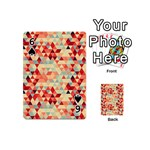 Modern Hipster Triangle Pattern Red Blue Beige Playing Cards 54 (Mini)  Front - Spade6