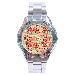 Modern Hipster Triangle Pattern Red Blue Beige Stainless Steel Analogue Watch by EDDArt
