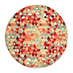 Modern Hipster Triangle Pattern Red Blue Beige Ornament (Round Filigree)  Front