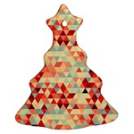Modern Hipster Triangle Pattern Red Blue Beige Ornament (Christmas Tree) Front