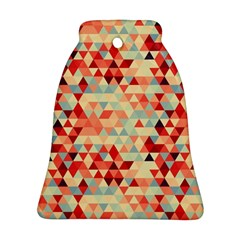 Modern Hipster Triangle Pattern Red Blue Beige Ornament (bell)