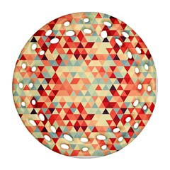 Modern Hipster Triangle Pattern Red Blue Beige Round Filigree Ornament (2side) by EDDArt