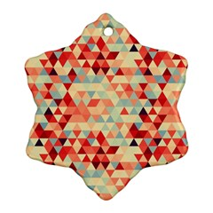 Modern Hipster Triangle Pattern Red Blue Beige Snowflake Ornament (2 Side) by EDDArt
