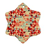 Modern Hipster Triangle Pattern Red Blue Beige Snowflake Ornament (2-Side) Back