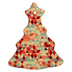 Modern Hipster Triangle Pattern Red Blue Beige Christmas Tree Ornament (2 Sides) by EDDArt