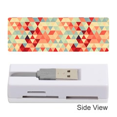 Modern Hipster Triangle Pattern Red Blue Beige Memory Card Reader (stick)