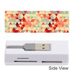Modern Hipster Triangle Pattern Red Blue Beige Memory Card Reader (Stick)  Front