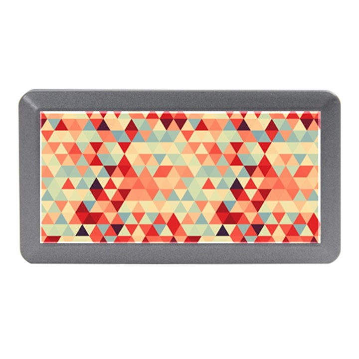 Modern Hipster Triangle Pattern Red Blue Beige Memory Card Reader (Mini)