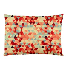 Modern Hipster Triangle Pattern Red Blue Beige Pillow Case (two Sides) by EDDArt