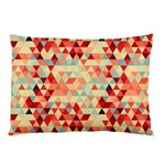 Modern Hipster Triangle Pattern Red Blue Beige Pillow Case (Two Sides) Back