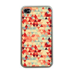 Modern Hipster Triangle Pattern Red Blue Beige Apple Iphone 4 Case (clear)