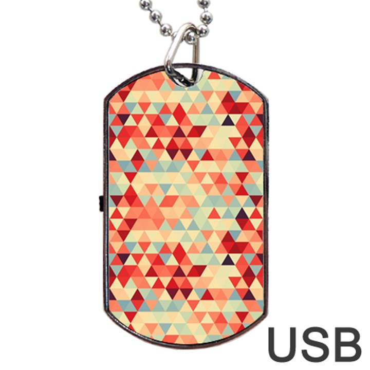 Modern Hipster Triangle Pattern Red Blue Beige Dog Tag USB Flash (Two Sides)