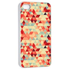 Modern Hipster Triangle Pattern Red Blue Beige Apple Iphone 4/4s Seamless Case (white) by EDDArt