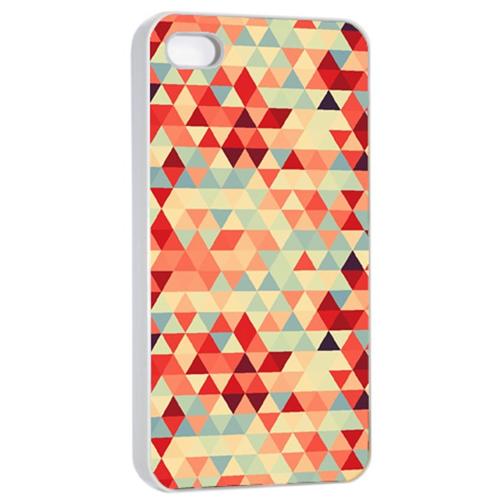 Modern Hipster Triangle Pattern Red Blue Beige Apple iPhone 4/4s Seamless Case (White)