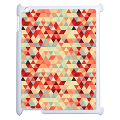Modern Hipster Triangle Pattern Red Blue Beige Apple Ipad 2 Case (white) by EDDArt