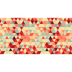 Modern Hipster Triangle Pattern Red Blue Beige You Are Invited 3d Greeting Card (8x4) by EDDArt