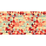 Modern Hipster Triangle Pattern Red Blue Beige Twin Heart Bottom 3D Greeting Card (8x4) Front