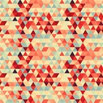 Modern Hipster Triangle Pattern Red Blue Beige Twin Heart Bottom 3D Greeting Card (8x4) Inside