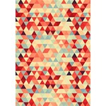Modern Hipster Triangle Pattern Red Blue Beige Circle Bottom 3D Greeting Card (7x5) Inside