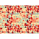 Modern Hipster Triangle Pattern Red Blue Beige Circle Bottom 3D Greeting Card (7x5) Back