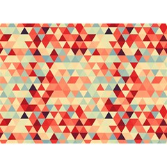 Modern Hipster Triangle Pattern Red Blue Beige Birthday Cake 3d Greeting Card (7x5) by EDDArt