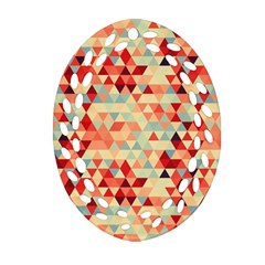 Modern Hipster Triangle Pattern Red Blue Beige Ornament (oval Filigree)  by EDDArt